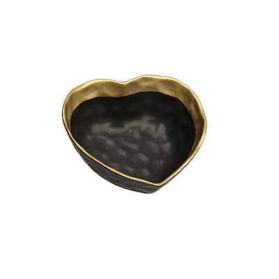 Black Porcelain Heart Shaped Bowl with Gold Rim