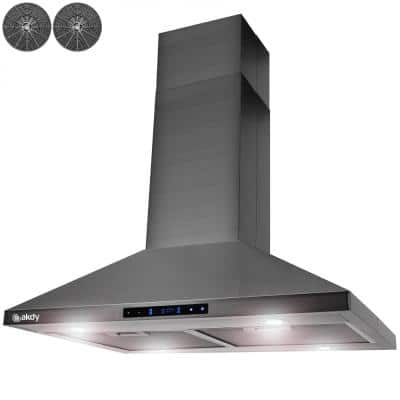 30 in. 343 CFM Convertible Island Mount Range Hood with Lights and Touch Control in Black Stainless Steel