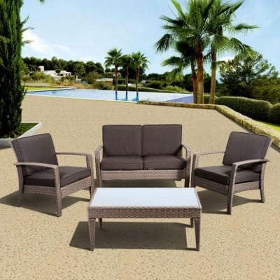 Florida Deluxe 4-Piece All-Weather Wicker Patio Conversation Set with Gray Cushion