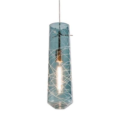 Spun 1-Light Satin Nickel Pendant with Glass Shade