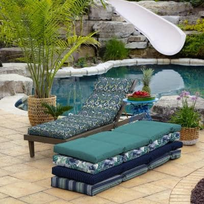 22 in. x 25 in. Outdoor Chaise Lounge Cushion in Sapphire Aurora Damask