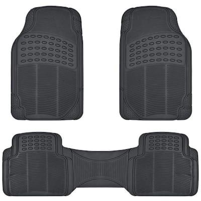 Black Heavy Duty 3-Piece 27 in. x 18 in. Rubber Car Mat