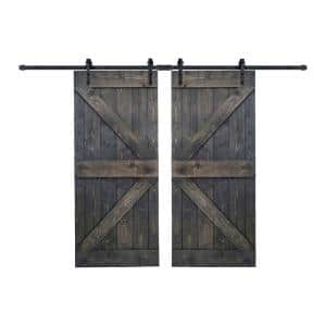 K Series 72 in. x 84 in. Carbon Gray DIY Finished Knotty Pine Wood Double Sliding Barn Door with Hardware Kit