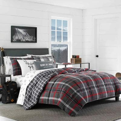 Willow 2-Piece Gray Plaid Micro Suede Twin Comforter Set
