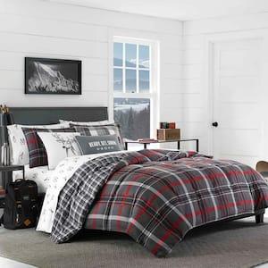 Willow 3-Piece Gray Plaid Micro Suede Full/Queen Comforter Set