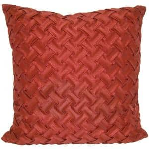 Lattice Red Solid Polyester 18 in. x 18 in. Throw Pillow