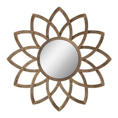 Medium Round Gold Modern Accent Mirror Iron Frame Wall Mirror Decor Flower Petal Mirror(26.4 in. H x 26.4 in. W)
