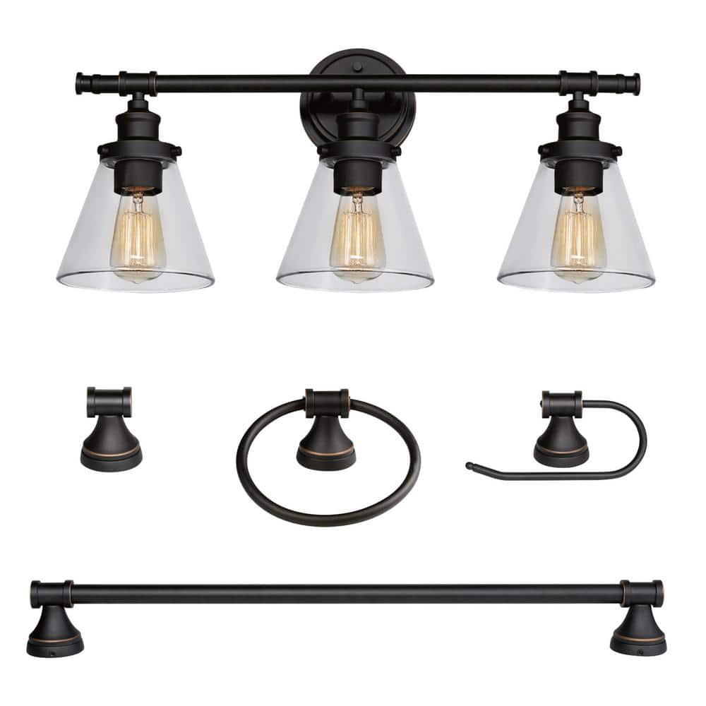 Globe Electric Parker 3 Light Oil Rubbed Bronze 5 Piece All In One Bath Light Set 50192 The Home Depot