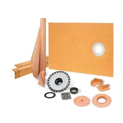 Kerdi-Shower-Kit 38 in. x 60 in. Off-Center Shower Kit in ABS with Stainless Steel Drain Grate
