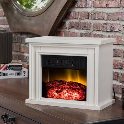 13.5 in. Desktop Electric Fireplace in White