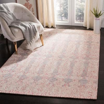 Glamour Light Pink/Ivory 6 ft. x 9 ft. Distressed Geometric Area Rug