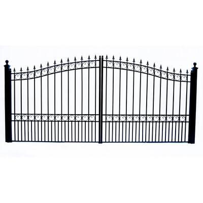 London Style 12 ft. x 6 ft. Black Steel Dual Swing Driveway Fence Gate