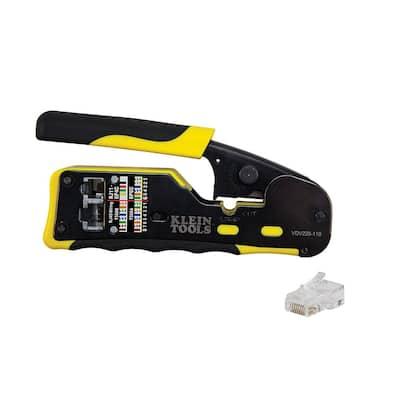 Ratcheting Pass-Thru Modular Crimper and (20-Pack) Pass-Thru Modular Data Plugs CAT6