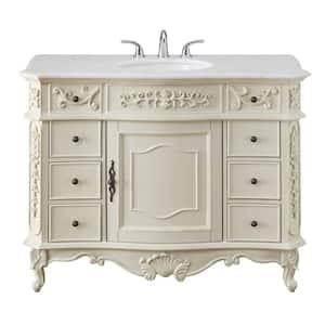 Winslow 45 in. W x 22 in. D Bath Vanity in Antique White with Vanity Top in White Marble with White Basin