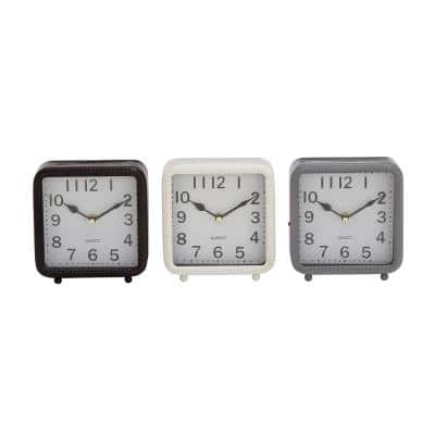 Vintage Black, White and Gray Table Clocks (Set of 3)