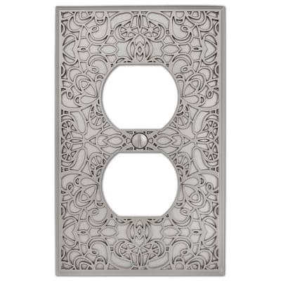 Momfort 1 Gang Duplex Metal Wall Plate - Satin Nickel