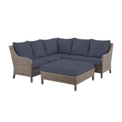 Windsor 4-Piece Brown Wicker Outdoor Patio Sectional Sofa with Ottoman and CushionGuard Sky Blue Cushions