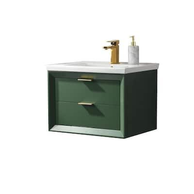 Danbury 24 in. W x 18.5 in. D Bath Vanity in Green with Porcelain Vanity Top in White with White Basin
