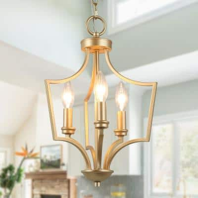 Aritik 3-Light Modern Gold Geometric Cage Pendant Adjustable Small Candle-Style Island Chandelier