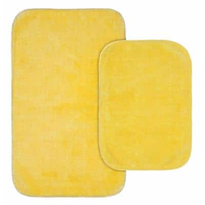 Traditional Rubber Ducky Yellow 21 in. x 34 in. Solid Plush Nylon 2-Piece Bath Mat Set