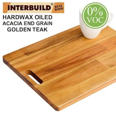 16 in. L x 12 in. D x 0.75 in. T Butcher Block Chopping Board in Golden Teak Stained Acacia
