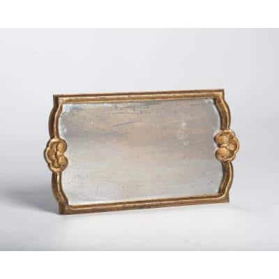 Gold Antiqued Mirror Wood Decorative Tray