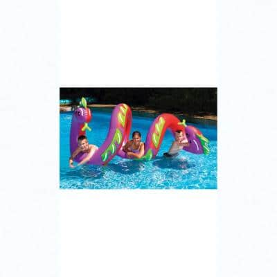 96 in. Purple/Red 2-Headed Curly Serpent Ride-On Pool Float