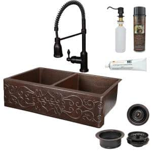 All-in-One Undermount Copper 33 in. 0-Hole 50/50 Double Bowl Kitchen Sink with Scroll Design in Oil Rubbed Bronze