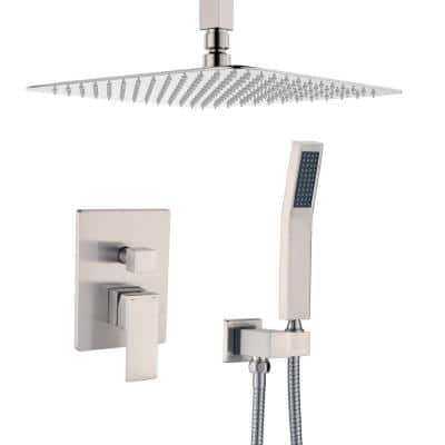 Shower System Ceiling Mounted with 12 in. Square Rainfall Shower head and Handheld Shower Head Set, Brushed Nickel