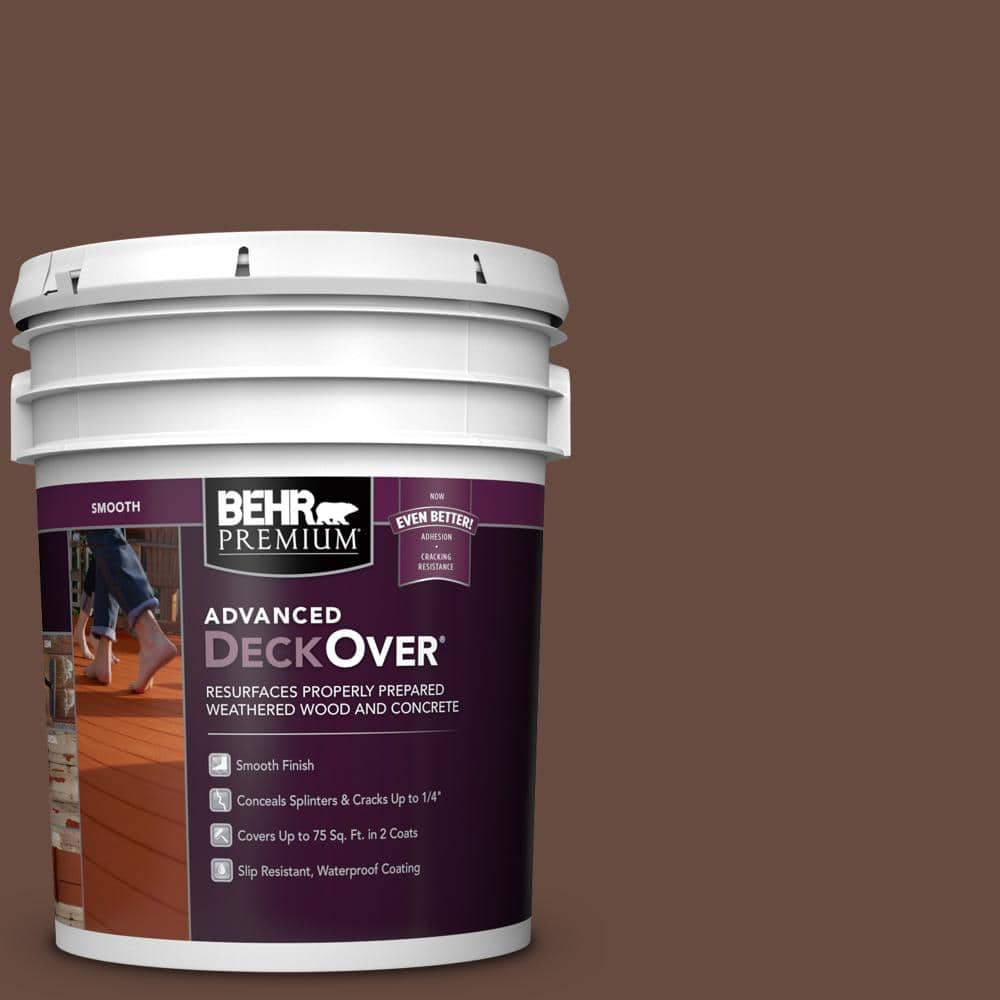 BEHR PREMIUM ADVANCED DECKOVER 5 gal. #SC-117 Russet Smooth Solid Color Exterior Wood and Concrete Coating