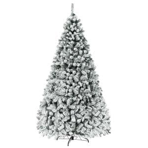 9 ft. Pre-Lit LED Flocked Snow Hinged Pine Artificial Christmas Tree with 550 Lights and 1498 Tips