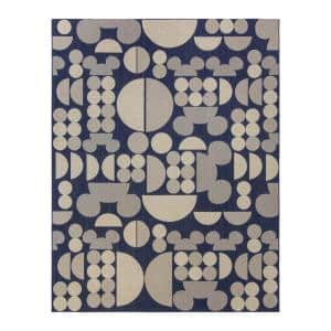 Mickey Mouse Spheres Navy/Sand 8 ft. x 10 ft. Abstract Indoor/Outdoor Area Rug