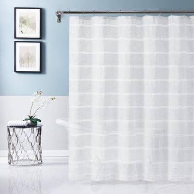 Lurex Stripe 70 in. x 72 in. White Shower Curtain