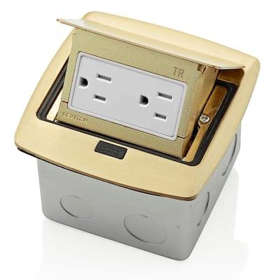 Pop-Up Floor Box with 15 Amp, Tamper-Resistant Outlet, Brass