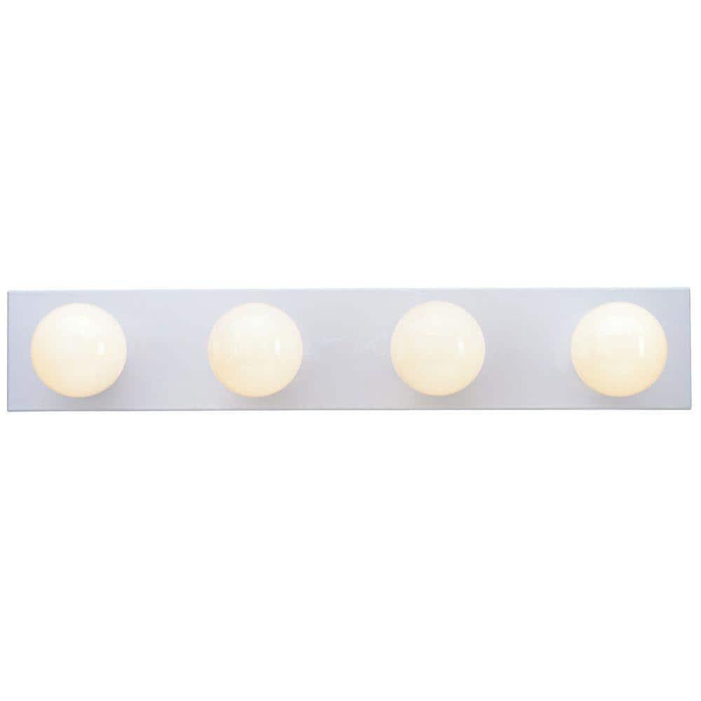 Westinghouse 4 Light White Interior Bath Bar Light 6659500 The Home Depot
