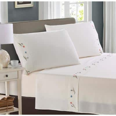 Pipers Embroidered 4-Piece White Microfiber King Sheet Set