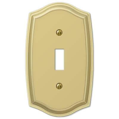 Vineyard 1 Gang Toggle Steel Wall Plate - Polished Brass
