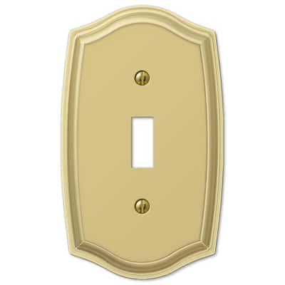 Vineyard 1 Gang Toggle Steel Wall Plate - Polished Brass