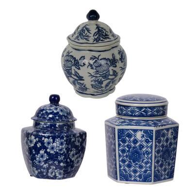Leith White/Blue Decorative Jars (Set of 3)