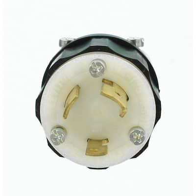 30 Amp 125/250-Volt Locking Non-Grounding Plug, Black/White