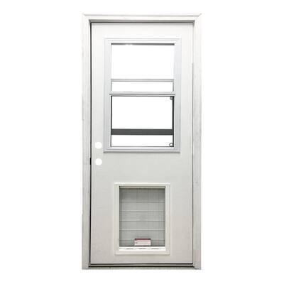 36 in. x 80 in. Classic Clear Vented Half Lite RHIS White Primed Fiberglass Prehung Back Door with SL Pet Door
