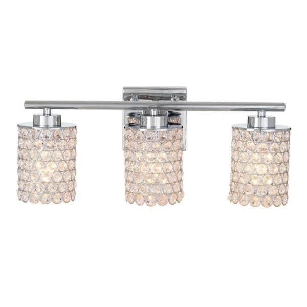 Alsy 3 Light Chrome Caged Crystal, Crystal Vanity Lights Bathroom
