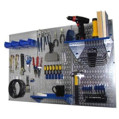 32 in. x 48 in. Metal Pegboard Standard Tool Storage Kit with Galvanized Pegboard and Blue Peg Accessories