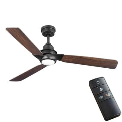 Ester 54 in. White Color Changing Integrated LED Indoor/Outdoor Matte Black Ceiling Fan with Light Kit and Remote