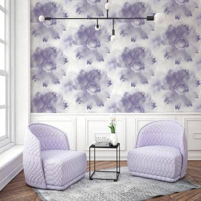 Floral Purple Wallpaper Home Decor The Home Depot