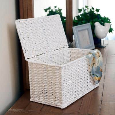 Small Wicker White Basket with Lid