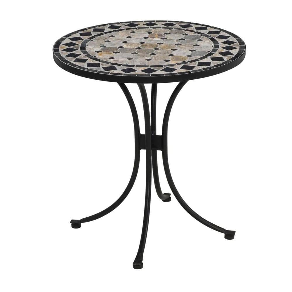 Homestyles 28 In Black And Tan Round Tile Top Patio Bistro Table 5605 34 The Home Depot