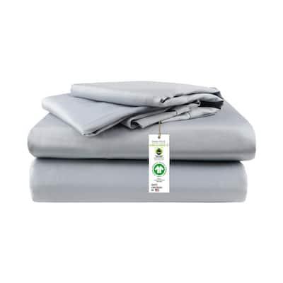 A1HC GOTS Certified Sateen Weave Single Ply 4-Piece Light Blue 300TC Organic Cotton California King Sheet Set