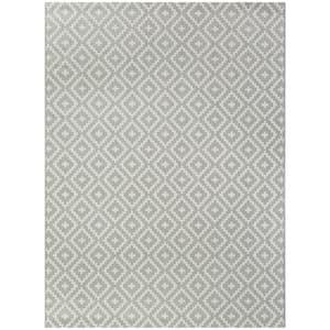 Cassady Grey 8 ft. x 10 ft. Diamond Trellis Indoor/Outdoor Area Rug