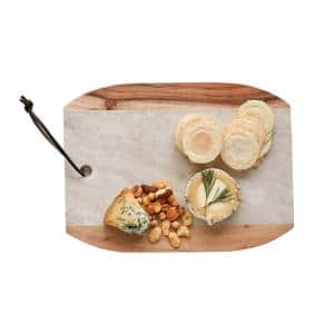12 in. L Marble and Mango Wood Cutting Board